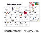 february monthly calendar... | Shutterstock .eps vector #792397246