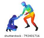 power man give hand help sad... | Shutterstock . vector #792401716