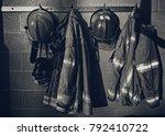 firefighter gear with fire... | Shutterstock . vector #792410722