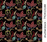 embroidery colorful floral... | Shutterstock .eps vector #792413188