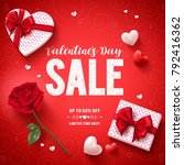 valentines day sale text vector ... | Shutterstock .eps vector #792416362