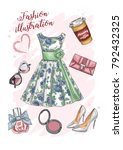 illustration with a cute... | Shutterstock .eps vector #792432325