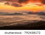 sunrise and mist on mountain ... | Shutterstock . vector #792438172