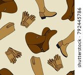 seamless pattern equestrian... | Shutterstock .eps vector #792445786