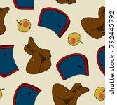 seamless pattern equestrian... | Shutterstock .eps vector #792445792