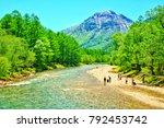 view of mount hotaka japanese... | Shutterstock . vector #792453742
