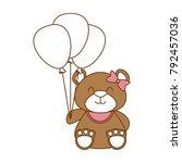 cute bear teddy with balloons... | Shutterstock .eps vector #792457036
