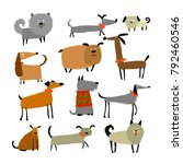 funny dogs collection  sketch... | Shutterstock .eps vector #792460546