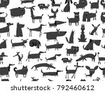 cute dogs collection  seamless... | Shutterstock .eps vector #792460612
