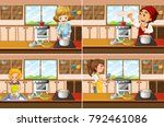 mothers working in the kitchen | Shutterstock .eps vector #792461086