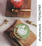 pink latte and matcha latte... | Shutterstock . vector #792462985