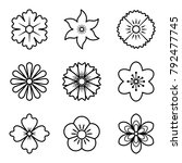 icons of flowers. flat style.... | Shutterstock .eps vector #792477745