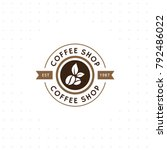 vintage vector coffee logo and... | Shutterstock .eps vector #792486022