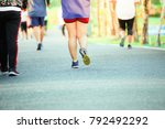group of people exercising in a ... | Shutterstock . vector #792492292