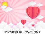 card valentine's day balloon... | Shutterstock .eps vector #792497896