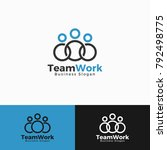 simple team work logo with... | Shutterstock .eps vector #792498775