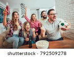 happy friends or football fans... | Shutterstock . vector #792509278