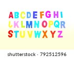 abcd colorful wooden alphabet... | Shutterstock . vector #792512596