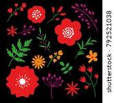 floral art design on black... | Shutterstock .eps vector #792521038