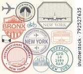 retro postage usa airport... | Shutterstock .eps vector #792527635