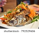 deep fried whole fish  thailand ... | Shutterstock . vector #792529606
