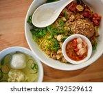indonesia pork noodle  served...   Shutterstock . vector #792529612