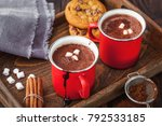 homemade hot chocolate with... | Shutterstock . vector #792533185
