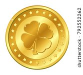 four leaf clover gold coin with ... | Shutterstock .eps vector #792552262