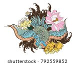 hand drawn chinese peacock... | Shutterstock .eps vector #792559852