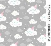 seamless clouds pattern vector... | Shutterstock .eps vector #792561472