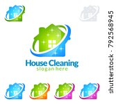 house cleaning vector logo... | Shutterstock .eps vector #792568945