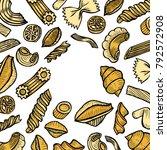 colored organic italian pasta...   Shutterstock .eps vector #792572908