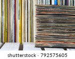 the vinyl records are stacked... | Shutterstock . vector #792575605