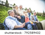 group of senior people with... | Shutterstock . vector #792589432