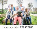 group of senior people resting... | Shutterstock . vector #792589708