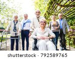 group of senior people with... | Shutterstock . vector #792589765