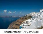 view from fira over caldera ... | Shutterstock . vector #792590638