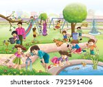 kids park illustration | Shutterstock . vector #792591406