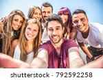 multi ethnic group of teenagers ... | Shutterstock . vector #792592258