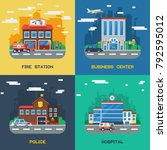 government buildings 2x2 flat... | Shutterstock . vector #792595012