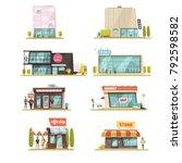 supermarket building set with... | Shutterstock . vector #792598582