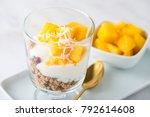 mango coconut granola yoghurt... | Shutterstock . vector #792614608