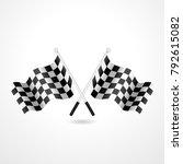 racing flag  checkered flag ... | Shutterstock .eps vector #792615082