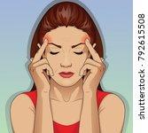 woman having headache migraine. ...   Shutterstock . vector #792615508