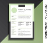 unique and professional resume... | Shutterstock .eps vector #792645382