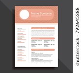 unique and professional resume... | Shutterstock .eps vector #792645388