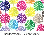 colorful tropical leaves  of... | Shutterstock .eps vector #792649072