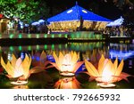 vesak lotus lanterns floating... | Shutterstock . vector #792665932