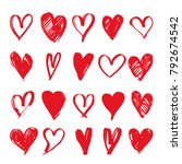 hand drawn hearts. big set.... | Shutterstock .eps vector #792674542