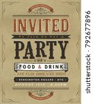 vintage party invitation sign ... | Shutterstock .eps vector #792677896